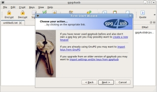 gpg4usb 0.3.2 - First start wizard (Linux)
